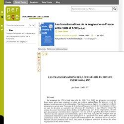Les transformations de la seigneurie en France entre 1600 et 1789