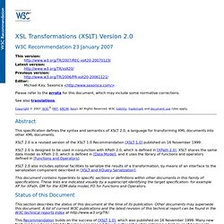 XSL Transformations (XSLT) Version 2.0