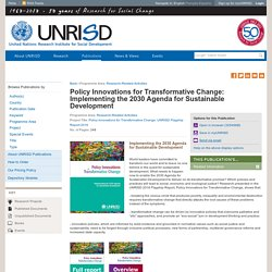 Policy Innovations for Transformative Change: Implementing the 2030 Agenda for Sustainable Development