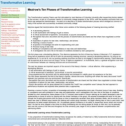 Mezirow's Ten Phases of Transformative Learning - Transformative Learning