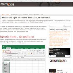 Transformer une ligne de données en colonne de données sous Excel