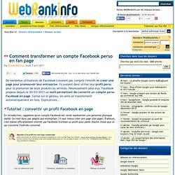 Transformer un profil Facebook perso en page (pro)