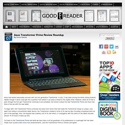 Asus Transformer Prime Review Roundup