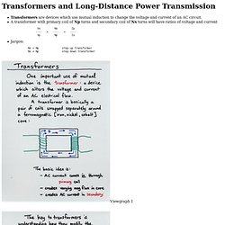 Transformers and Long-Distance Power Transmission