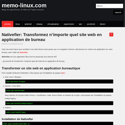 Nativefier: Transformez n'importe quel site web en application de bureau