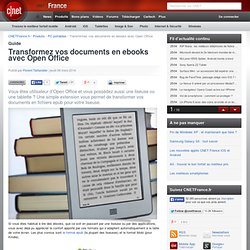 Transformez vos documents en ebooks avec Open Office