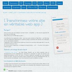 Transformez votre site en véritable Web App - Astuces-webmaster.ch