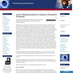 2016: Writing Analytics to Improve Formative Feedback