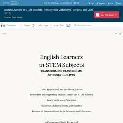 English Learners in STEM Subjects: Transforming Classrooms, Schools, and Lives