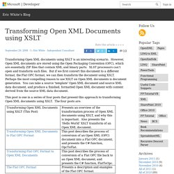 Transforming Open XML Documents using XSLT