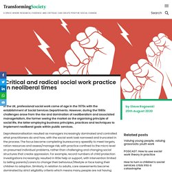 Transforming Society ~ Critical and radical social work practice in neolibera...