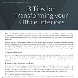 3 Tips for Transforming your Office Interiors