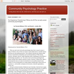 Our Experience Transforming THEory into ACTion as early-career community psychologists
