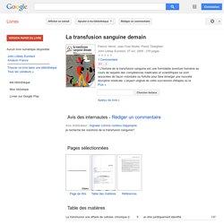 La transfusion sanguine demain - Google Books