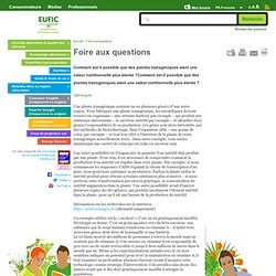EUFIC - Comment est-il possible que des plantes transgéniques aient une valeur nutritionnelle plus élevée ?