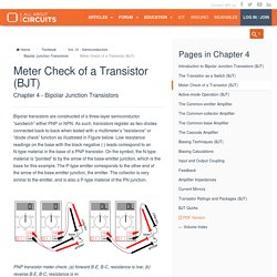 Meter Check of a Transistor (BJT) : Bipolar Junction Transistors