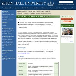 Special Education Transition Certificate - Seton Hall University, New Jersey