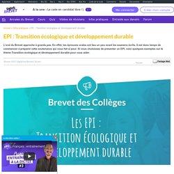 Transition écologique et développement durable - Thème EPI - Brevet des Collèges
