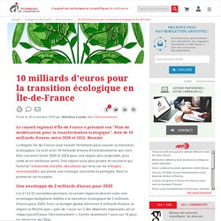 10 milliards d'euros pour la transition écologique en Île-de-France
