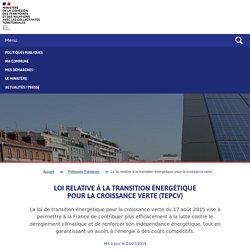 Loi relative à la transition énergétique pour la croissance verte (TEPCV)