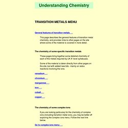 transition metals menu