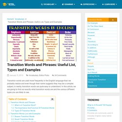 Transition Words and Phrases: Useful List & Examples