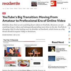 YouTube's Big Transition: Moving From The Amateur to Professional Era of Online Video