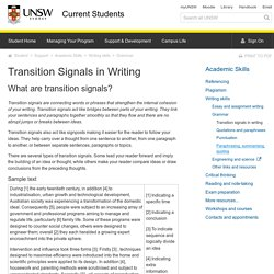 Guide to Transition Signals in Writing