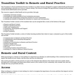 Transition Toolkit to Remote and Rural Practice