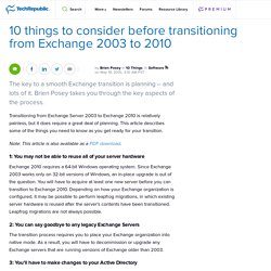 10 things to consider before transitioning from Exchange 2003 to