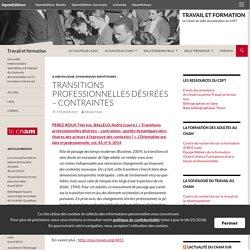Transitions professionnelles désirées – contraintes