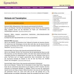 Hörtexte mit Transkription » Sprachlich