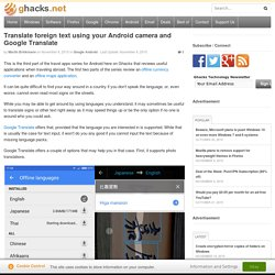 Translate foreign text using your Android camera and Google Translate
