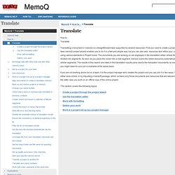Translate | MemoQ