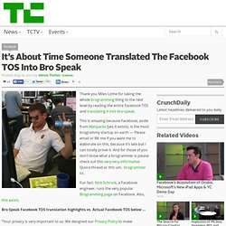 It's About Time Someone Translated The Facebook TOS Into Bro Speak