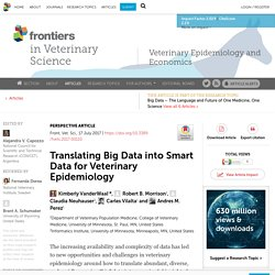 FRONTIERS IN VETERINARY SCIENCE 17/07/17 Translating Big Data into Smart Data for Veterinary Epidemiology