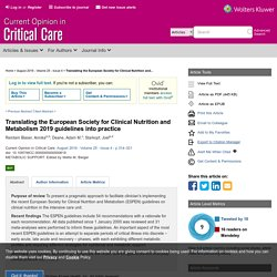 Translating the European Society for Clinical Nutrition and... : Current Opinion in Critical Care