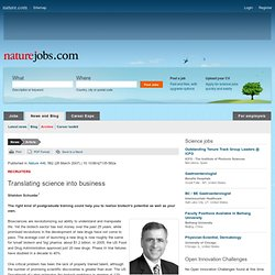 Naturejobs (2007): Skills for translating science into business