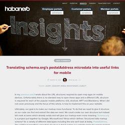 Translating schema.org's postalAddress microdata into useful links for mobile