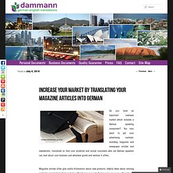 Increase your market by translating your magazine articles into German