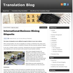 Translation Blog » International Business: Dining Etiquette » Translation Blog