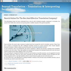 Beyond Translation - Translation & Interpreting Services: Search Online For The Best And Effective Translation Company!