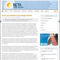 How to use translation in the language classroom | BETA
