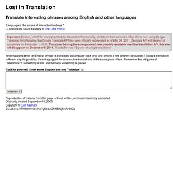 Lost in Translation - Cross-language computer translation