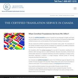 Certified Translation Service - Legalization Service Centre