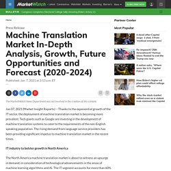 Machine Translation Market In-Depth Analysis, Growth, Future Opportunities and Forecast (2020-2024)
