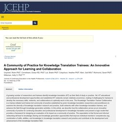 A Community of Practice for Knowledge Translation Trainees:... : Journal of Continuing Education in the Health Professions