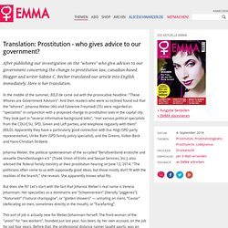 Translation: Prostitution - who gives advice to our government?