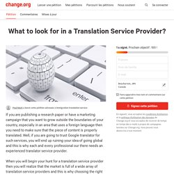 What to look for in a Translation Service Provider?