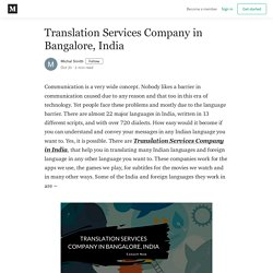 Translation Services Company in Bangalore, India